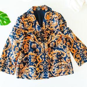 ELLEN TRACY Dillards Jacquard Cotton Silk Blazer